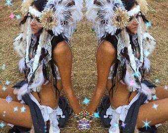 Handmade double sided Feather festival headdress