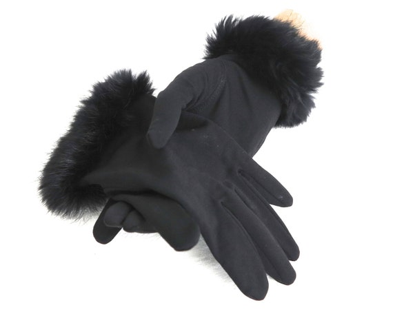 Black gloves with black rabbit fur cuff, Angelite brand, wrist gloves, stretchy, made in Hong Kong, small size, mid 20th century