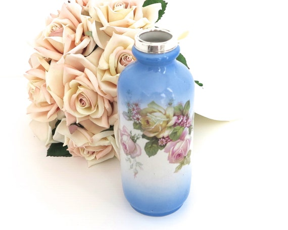 Antique 1926 ceramic vase with roses and sterling silver hallmarked collar, British Anchor Pottery, England, 6.5 inches / 16.5 inches tall