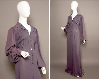OSSIE CLARK 60s 70s Violet  Maxi Dress UK 12
