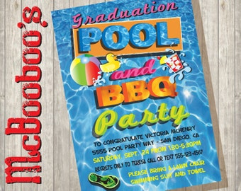 Graduation Pool and BBQ barbecue Party Invitations great for Graduations or any occasion