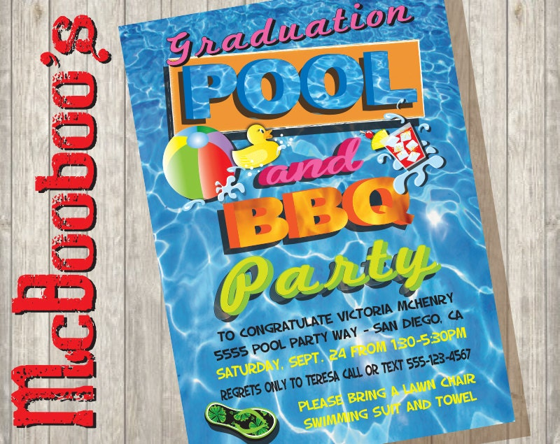 graduation pool and bbq barbecue party invitations great for