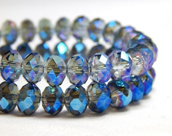 Blue Crystal Beads, Blue Crystals, Tiaria Crystal Beads, Blue Crystal Rondelles, Crystal Beads, Dark Blue Crystal Beads, Blue Beads, D-C24