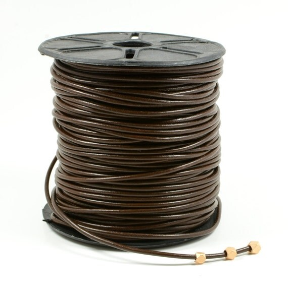 2mm leather cord in brown, fine genuine leather cord - 1 yard/order