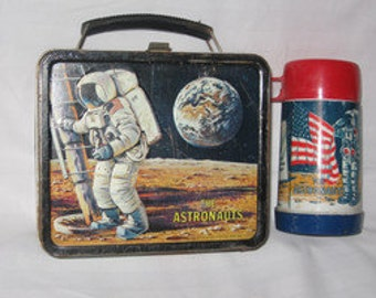vintage 1969 aladdin the astronauts metal lunchbox and thermos