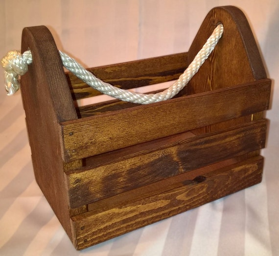 Wood Storage Box With Rop...