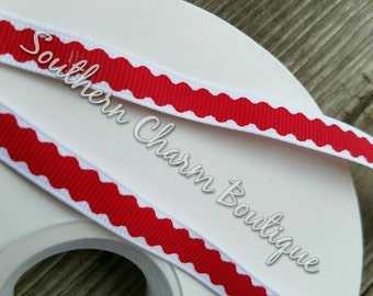 "3 yards of 3/8""  red and white grosgrain ribbon"