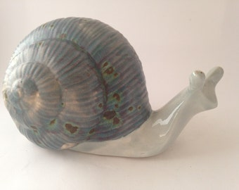 Ceramic Snail Made by Canadian War Veteran, Snail with Big Blue Shell
