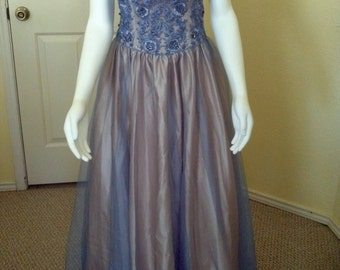 Vintage Niki Livas Slate Blue Beaded Tulle Dress / 1990s Stapless Tulle Netting size 2;Prom Dress,Homecoming Dress,Formal Dress