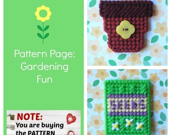 "Plastic Canvas Pattern Page: ""Gardening Fun"" (2 designs, graphs and photos, no written instructions) ***PATTERN ONLY!***"
