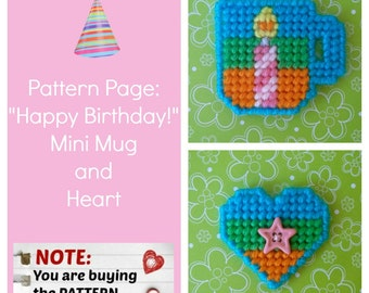 """Plastic Canvas Pattern Page: """"Happy Birthday Mini Mug and Heart"""" (2 designs, graphs and photos, no written instructions) ***PATTERN ONLY!***"""