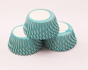 48 Aqua Green Pisa Stripe Mini Size Cupcake Liners Baking Cups Greaseproof
