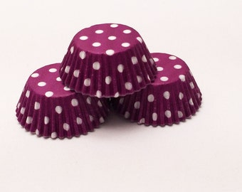 48 Purple with White Polka Dots Standard Size Cupcake Liners Baking Cups Greaseproof