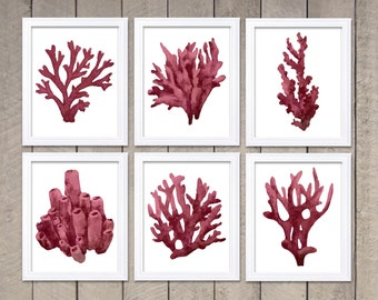 Red Coral Wall Art Set Of 6 Coral Prints Coral Watercolor Wall Decor  Bathroom Ocean Nautical