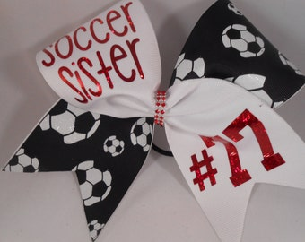 Cheer Bow Soccer Sister CUSTOM lettering color and your # on grosgrain by BlingItOnCheerBowz