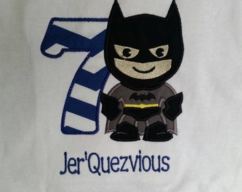 Bat Boy Applique Birthday Shirt For Boys With Name And Number