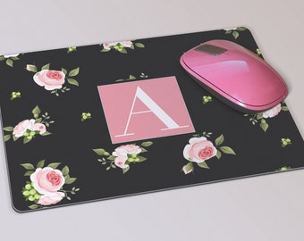 Fabric Mousepad, Mousemat, 5mm Black Rubber Base, 19 x 23 cm - Black & Pink Rose Floral Monogrammed Mousepad Mousemat