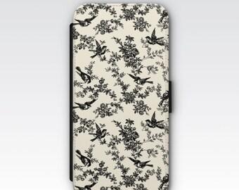 Wallet Case for iPhone 8 Plus, iPhone 8, iPhone 7 Plus, iPhone 7, iPhone 6, iPhone 6s, iPhone 5/5s - Black & Cream Floral Case