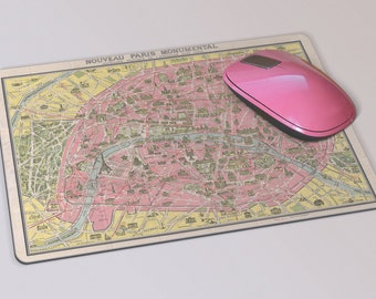 Fabric Mousepad, Mousemat, 5mm Black Rubber Base, 19 x 23 cm - Vintage 1920 Map of Paris, Mousepad Mousemat Paris Map