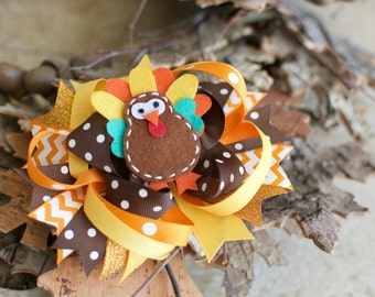Turkey Hair Bow | Thanksgiving Hair Bow | Girl Turkey | Hair Accessory |Thanksgiving Girl