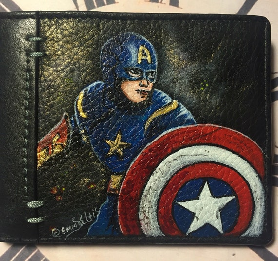 Men's black wallet, Captain America - hand painted on leather