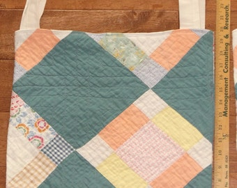 Upcycled Farmers Market Bag old patchwork Bowtie quilt Yellow