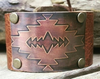 Leather Cuff Bracelet with Copper Etched Aztec Design- Custom Hand Made Cuff