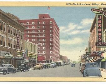 Billings, Montana North Broadway Linen Era Old Postcard (Postmarked June 22, 1953)
