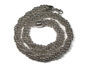 Vintage Sterling Bead Necklace Twisted Multi Strand 18 Inches