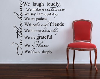 Inspirational Wall Sticker Quotes - IN THIS HOME... AW1056