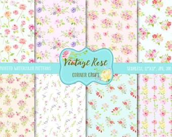 Watercolor Digital Paper Virnage Rose,  watercolor background, rose pattern, digital background, cottage rose pattern for instant download