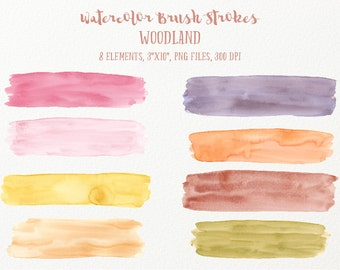 Watercolor brush strokes Woodland - large woodland earthy watercolor brush strokes for instant download for graphic design