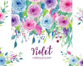 Watercolor Clipart Violet Collection - floral elements border, frame and flower arrangement for instant download,