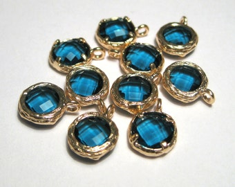 2pcs Blue Glass Charms Pendant Gold Plated Brass Framed Faceted Flat Round( No.05G)