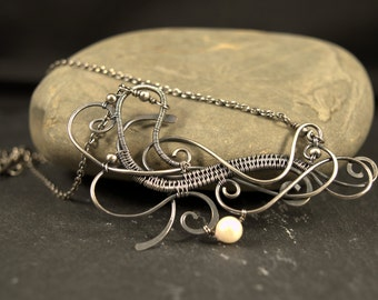 Silver Calligraphy Pendant with Pearl, Calligraphy necklace, Swirls Necklace, Wire Wrapped Elegant Necklace