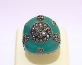 925 Sterling Silver  Men and Women Ring Enamel Stone and  Completely Handmade Custom Design