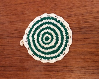crochet green and white round Swedish potholder FREE SHIPPING