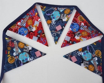 Pirates Bunting, Red and Blue, Pirates Pennant Banner, Polka Dots, Pirates Fabric Bunting, Double Sided Flags