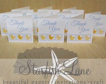 Duck Blue -  Thank You Card Pack/ 10 cards 99mmx99mm when folded & 10 Envelopes