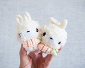 Pink Shirt Fluffy Bunny with Carrot - White Bunny - Cute Bunny - Crochet Bunny - Cute Keychain