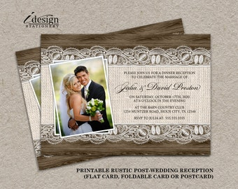 Diy Rustic Photo Post Wedding Reception Invitations With Burlap And Lace On  Brown Barn Wood |