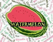 Watermelon Palette Custom Name Fabric Material for Applique, ITH, & Craft Projects. Various Sizes