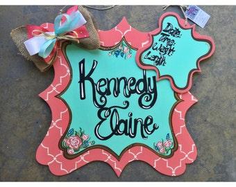 Custom order large floral quatrefoil birth announcement // hospital door hanger - ANY COLORS