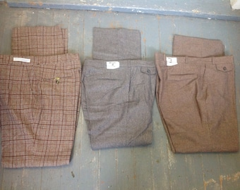 Deadstock wool vintage slax trousers dress men's plaid golf pants new USA pick 1 pair jeans 1970s shoes unfinished sneakers retro new shoes