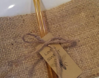 25 units with tag wild flower US honey sticks with ribbon or twine, love is Sweet, sweet as honey