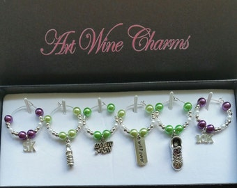 6 Running themed Wine Charms, Jogging, Jogger, Running, Themed Party, Party Favors, Gift, Runner, Marathon, Thank You, Gifts under 20
