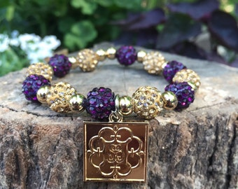 Plum/gold Shelby bracelet