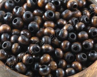 50 pcs Round Wood Beads, (9mm x 7mm) Wood Beads, Dark Brown Wood Beads, Natural Wood Beads, Wood Loose Beads, Wood Beads