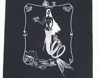 Mermaid Back Patch - Screen Print on Canvas