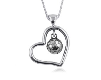 Heart Open Drop Soccer .925 Sterling Silver Necklace, Sports Jewelry, SCBL3-6242